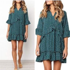Dresses & Skirts - Boho Green polka dot ruffle tunic dress